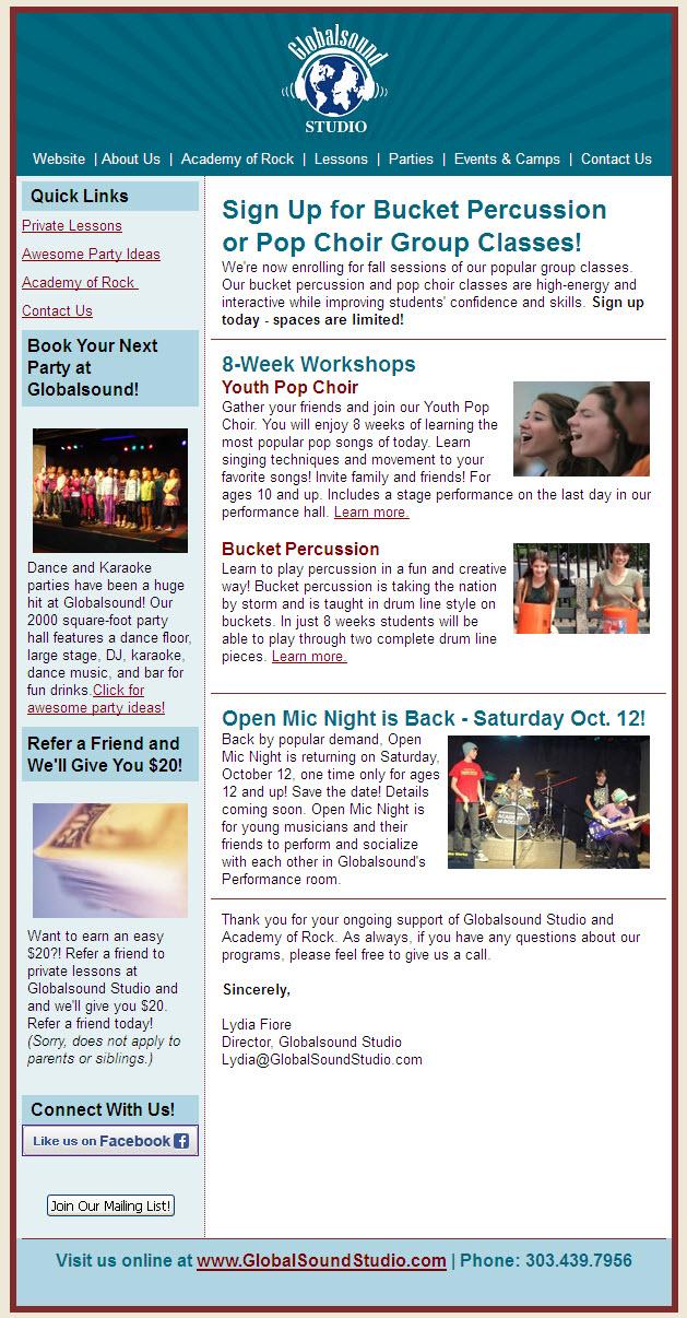 Globalsound August Newsletter